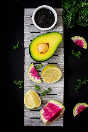 Avocado, limes and watermelon radishes