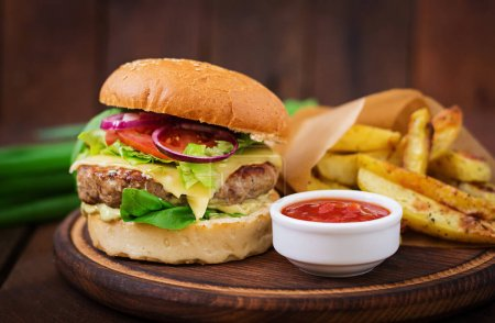 Burger with french fries and sauce