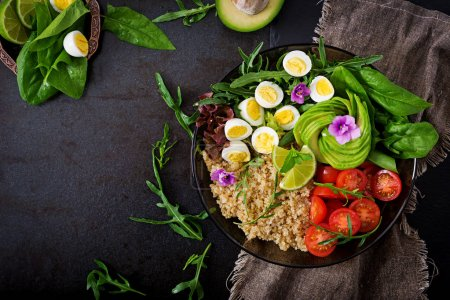 salad of fresh vegetables and quinoa in bowl