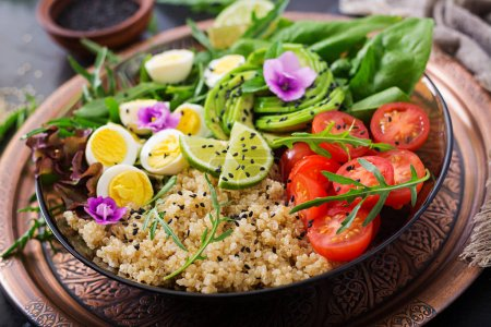 Photo for Healthy salad of fresh vegetables and quinoa in bowl - Royalty Free Image