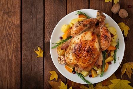 Roasted turkey garnished with sliced orange