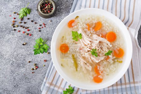 dietary chicken soup with rice and carrots, healthy food