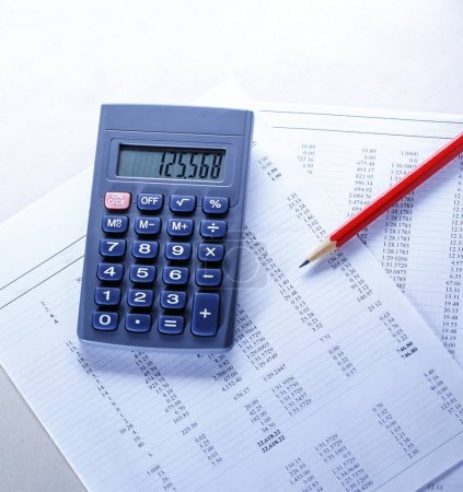 Operating budget, calculator and pencil