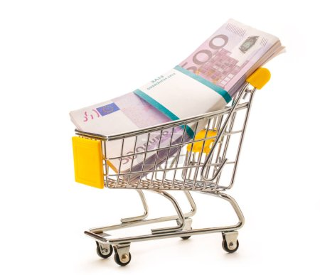 Pack of euro banknotes in pushcart