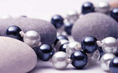 black and white pearls with stones