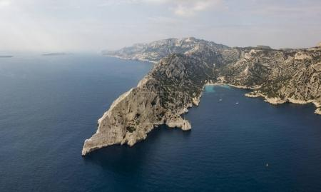 Aerial view of Calanques National Park on the southern coast of France