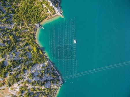 Fishing nets in bay.