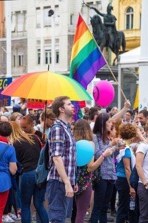 15th Zagreb pride. LGBTIQ activists on Ban Josip Jelacic square.