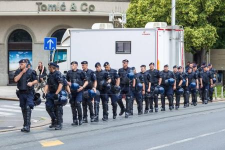 15th Zagreb pride. Group of intervention policemen in the street.
