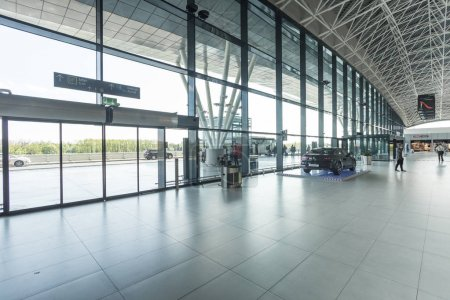 Entrance to the airport through doors