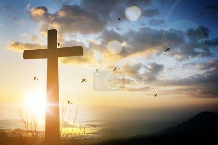 Photo pour Croix sur fond flou au coucher du soleil  . - image libre de droit