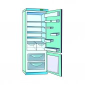 the vector illustration  of the electric  refrigerator