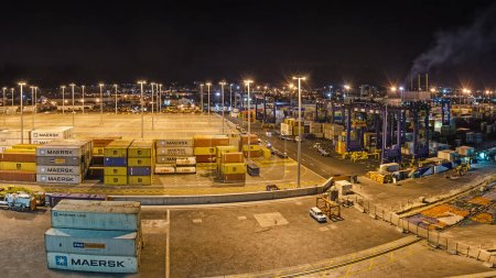 Container terminal in the night