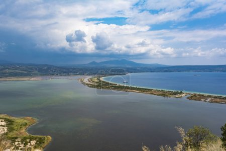 View of Divari Beach and the Divari lagoon in the Peloponnese region of Greece, from the Palaiokastro