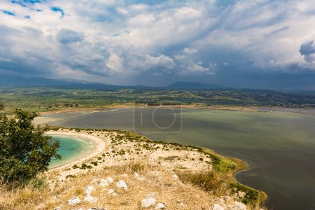 View of Voidokilia beach and the Divari lagoon in the Peloponnese region of Greece, from the Palaiokastro
