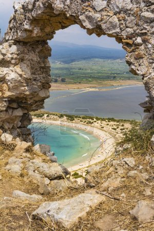 View of Voidokilia beach and Divari lagoon in the Peloponnese region of Greece, from the Palaiokastro