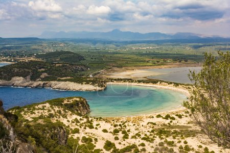 View of Voidokilia beach in the Peloponnese region of Greece, from the Palaiokastro