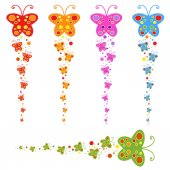 A flock of flat colored isolated butterflies flying one after another Five color options in the set