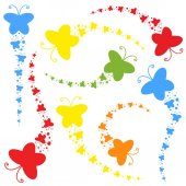 A flock of flat colored isolated butterflies flying one after another Eight color options in the set