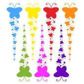 A flock of flat colored isolated butterflies flying one after another Seven color options in the set