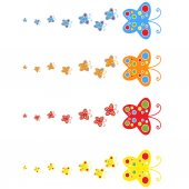 A flock of flat colored isolated butterflies flying one after another Four color options in the set