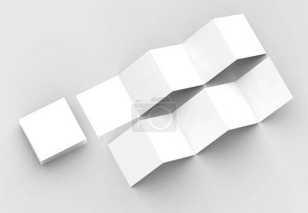 10 page leaflet, 5 panel accordion fold square brochure mock up