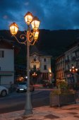 Night view of city hall and street with lamp in Saint-Gervais-Les-Bains