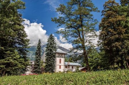 Gardens in Saint-Gervais-Les-Bains with alpine mountains landscape