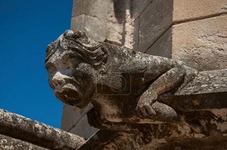 Photo pour Gros plan d'une gargouille sur le toit du Palais des Papes d'Avignon, sous un ciel bleu ensoleillé. Situé dans le département du Vaucluse, région Provence-Alpes-Côte d'Azur, sud-est de la France - image libre de droit