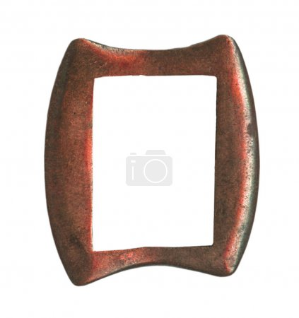 painted red steel  buckle isolated on white