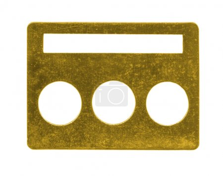 painted yellow old buckle isolated on white background