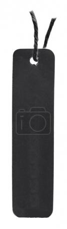 blank black cardboard tag isolated on white