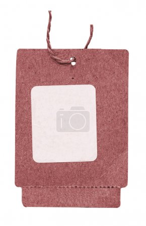 red cardboard tag with white sticker isolated on white