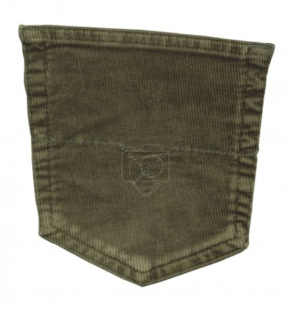 green back trouser pocket isolated on white