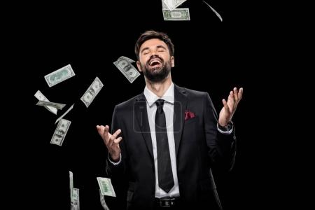businessman throwing money