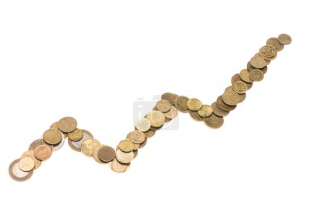 coins arranged in line