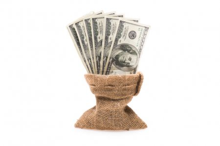 Dollar banknotes in bag