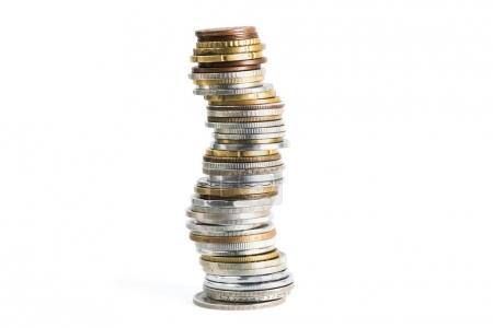 stack of various coins