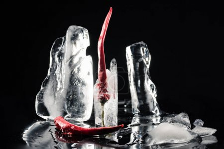 chili peppers in melting ice