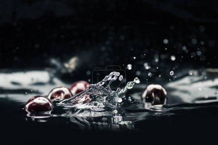 Ripe cherries falling in water