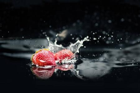 Ripe strawberries falling in water with splash isolated on black