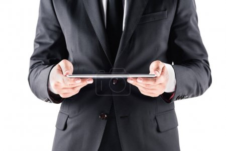 Photo for Cropped view of businessman using digital tablet, isolated on white - Royalty Free Image