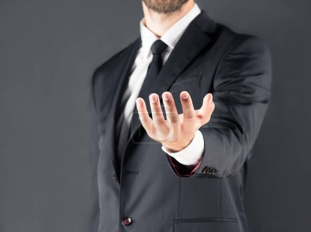 businessman with open hand