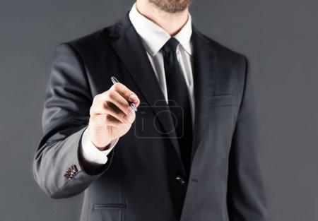businessman in singing something