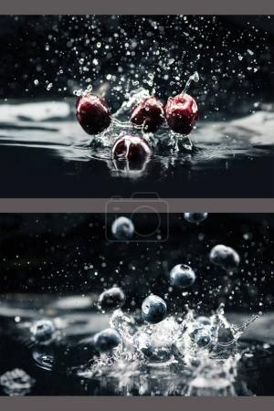 Photo for Collage with cherries and blueberries falling in water with splashes - Royalty Free Image