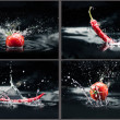 Collage with tomatoes and peppers falling in water with splashes