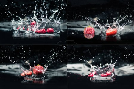 Photo for Collage with raspberries and strawberries falling in water with splashes - Royalty Free Image