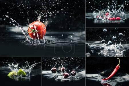 products falling in water with splashes