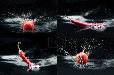 tomatoes and peppers falling in water