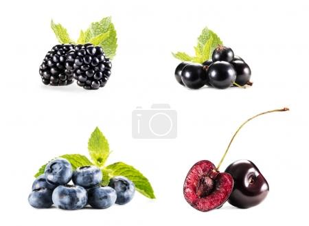 Photo for Collage with piles of various berries isolated on white - Royalty Free Image